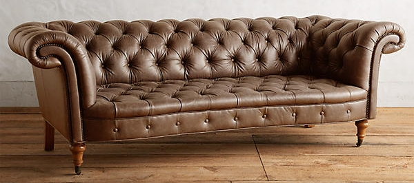 B. Designer-esque Sof  a  -  Olivette Leather Sofa   Manufacturer & Retail Representative:  Anthropologie