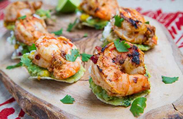 These citrus-spritzed crustaceans are fabulous on a mini tostada, and perfect with a light summer beer.