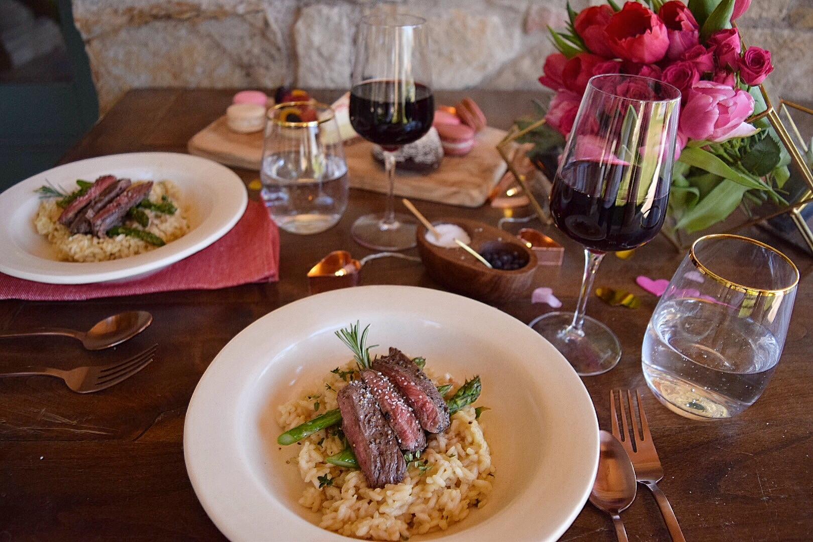 Valentine's Day DInner Menu: Skirt Steak & Gorgonzola Risotto