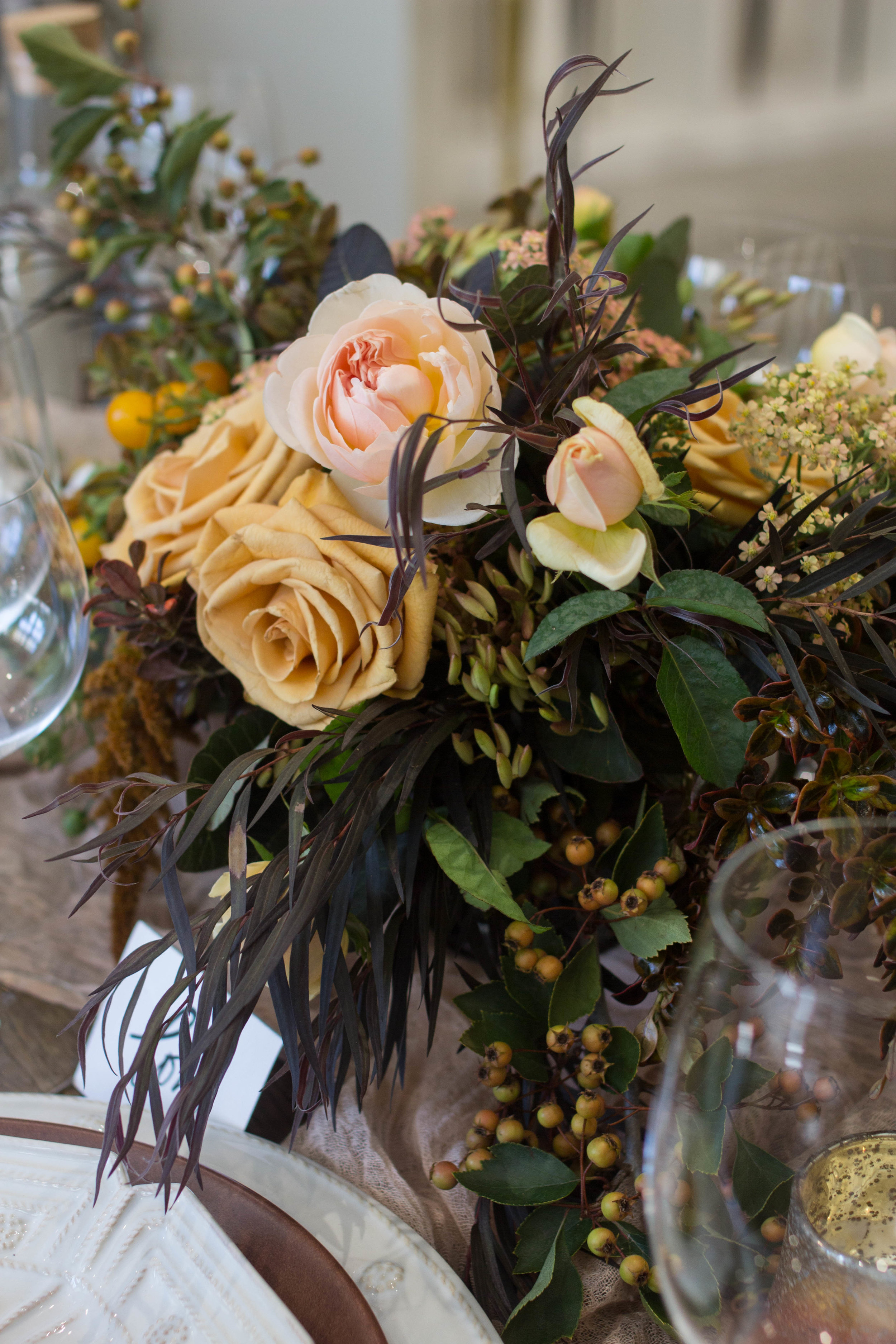 fall inspired table floral centerpiece