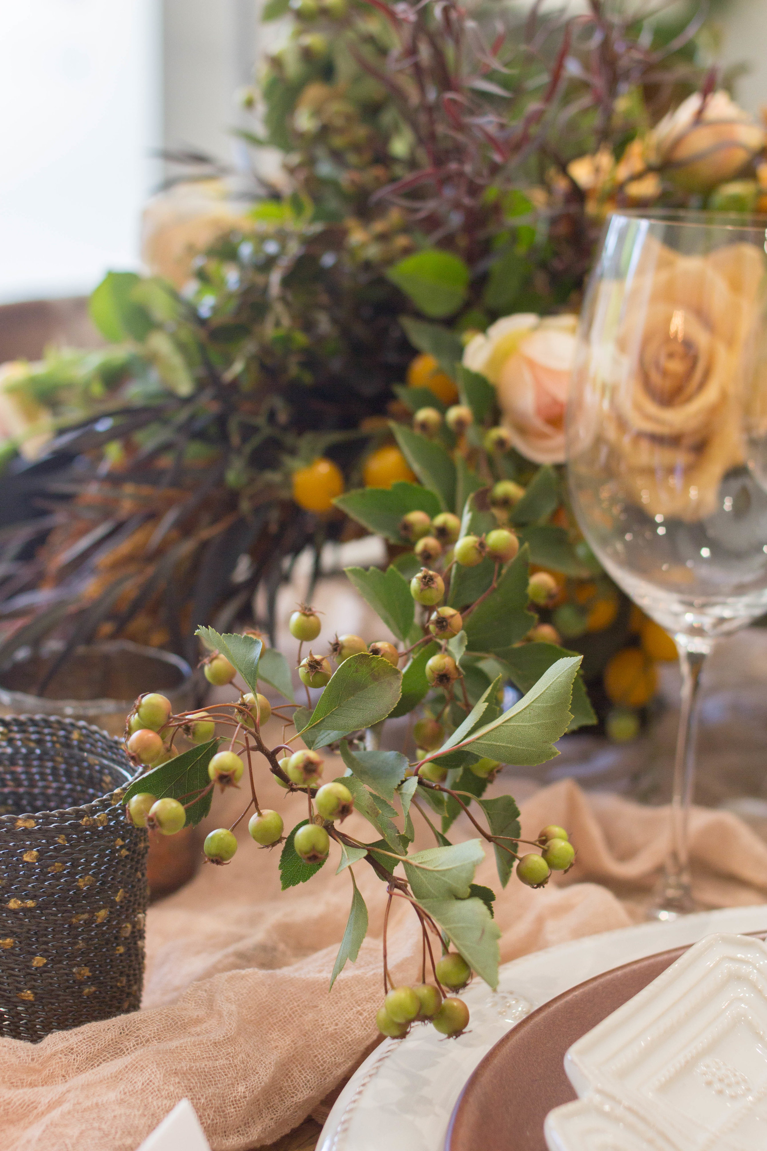 fall inspired table flower arrangement