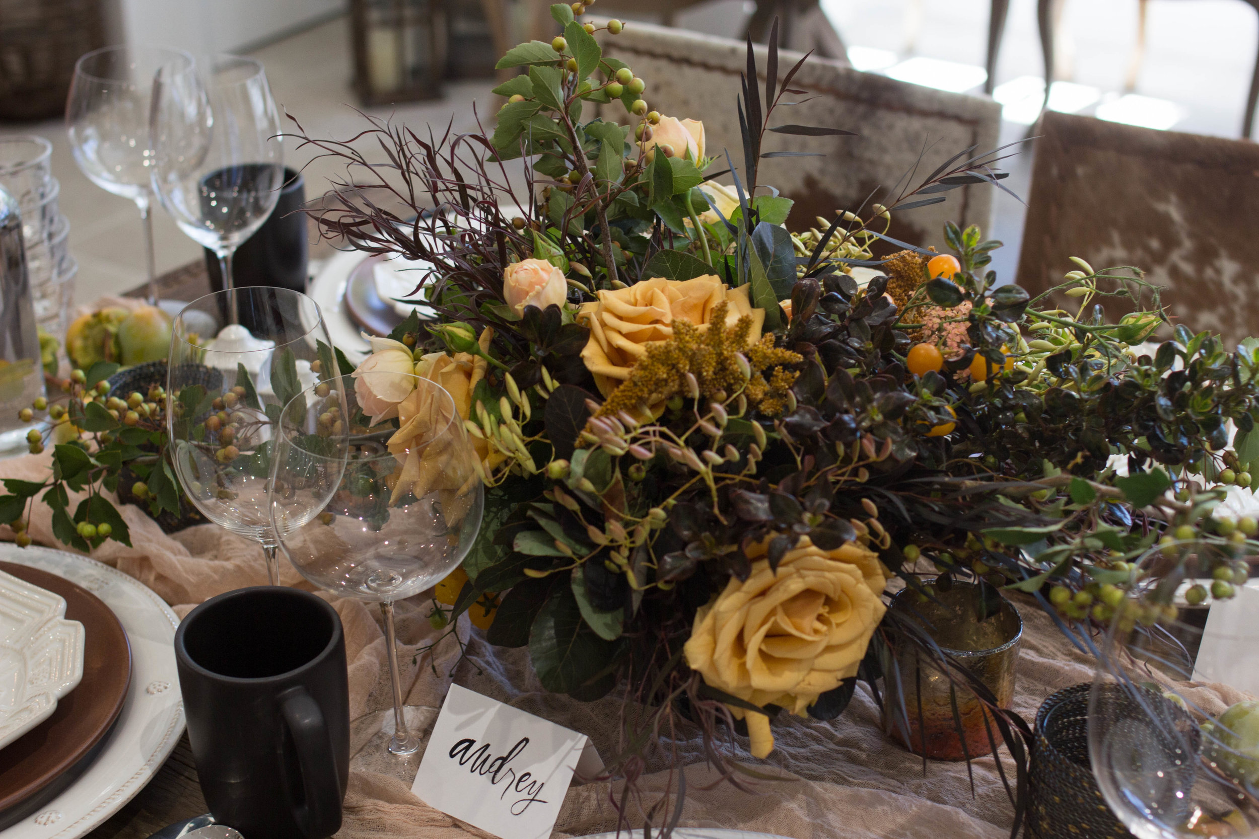 fall inspired table flower centerpiece