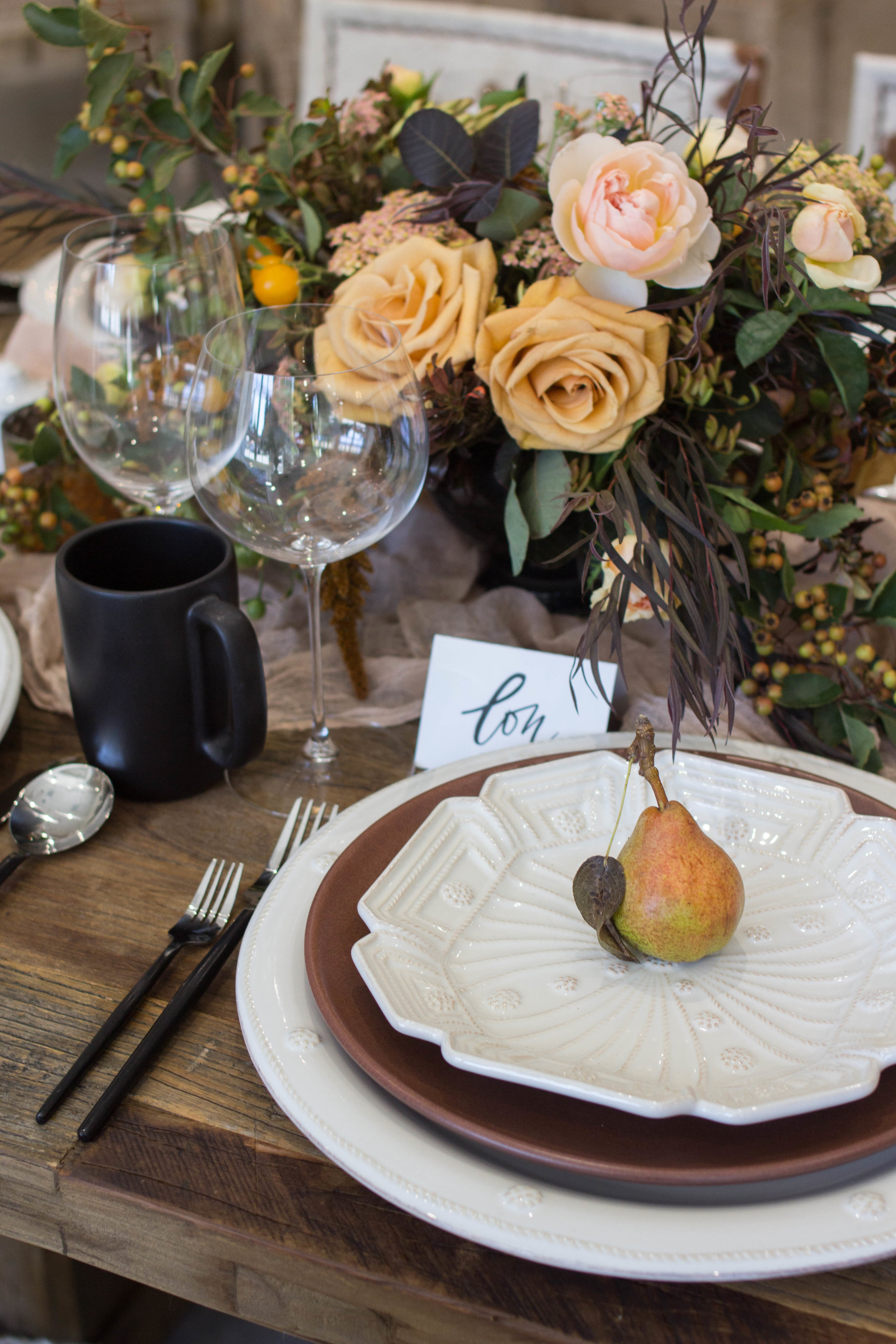 fall inspired table setting pear