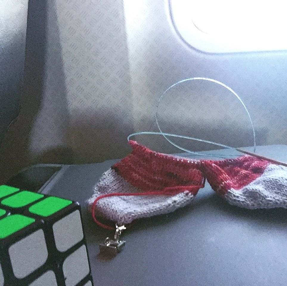 dartily knitting on plane