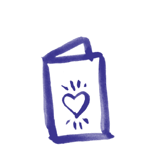 Illustration of a gift card with a heart on the front