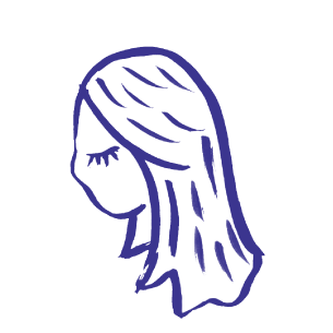 Illustration of a girls head with her eyes closed