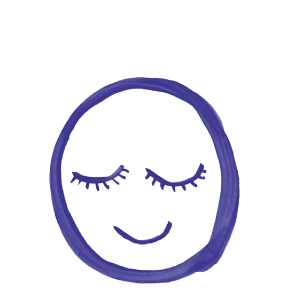 Illustration of a face with eyes closed and smile