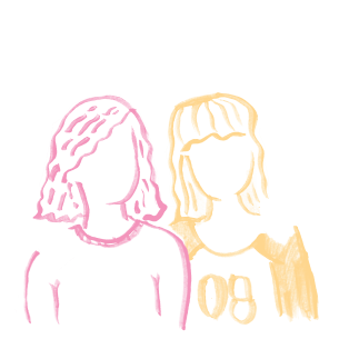 Illustration of two friends standing next to eachother