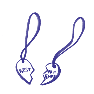 Illustration of a best friends necklace, when put together make a heart