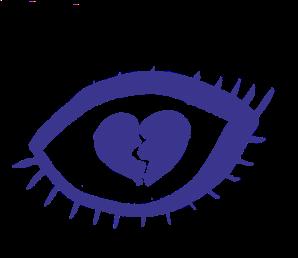 Illustration of a broken heart inside an eye