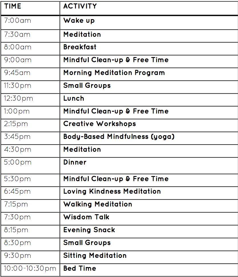 Retreat Schedule -