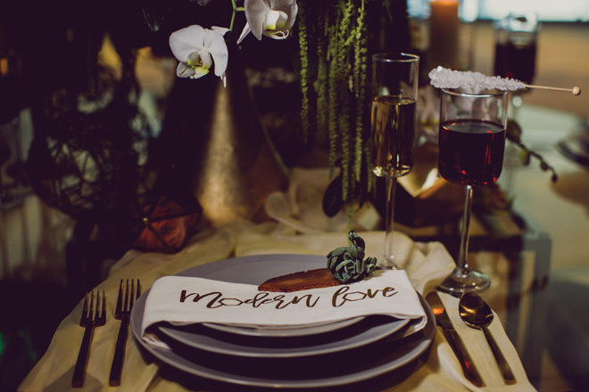 modern wedding place setting