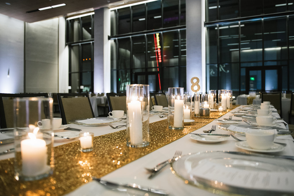 modern tablescape gold sequin runner