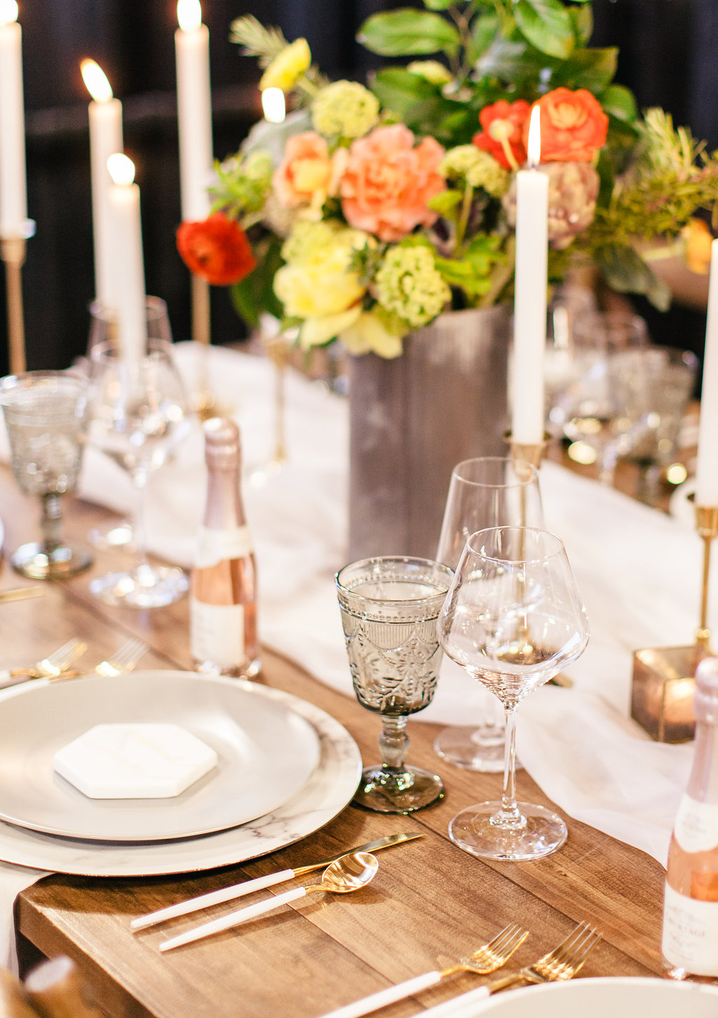 summer table setting gold candlesticks