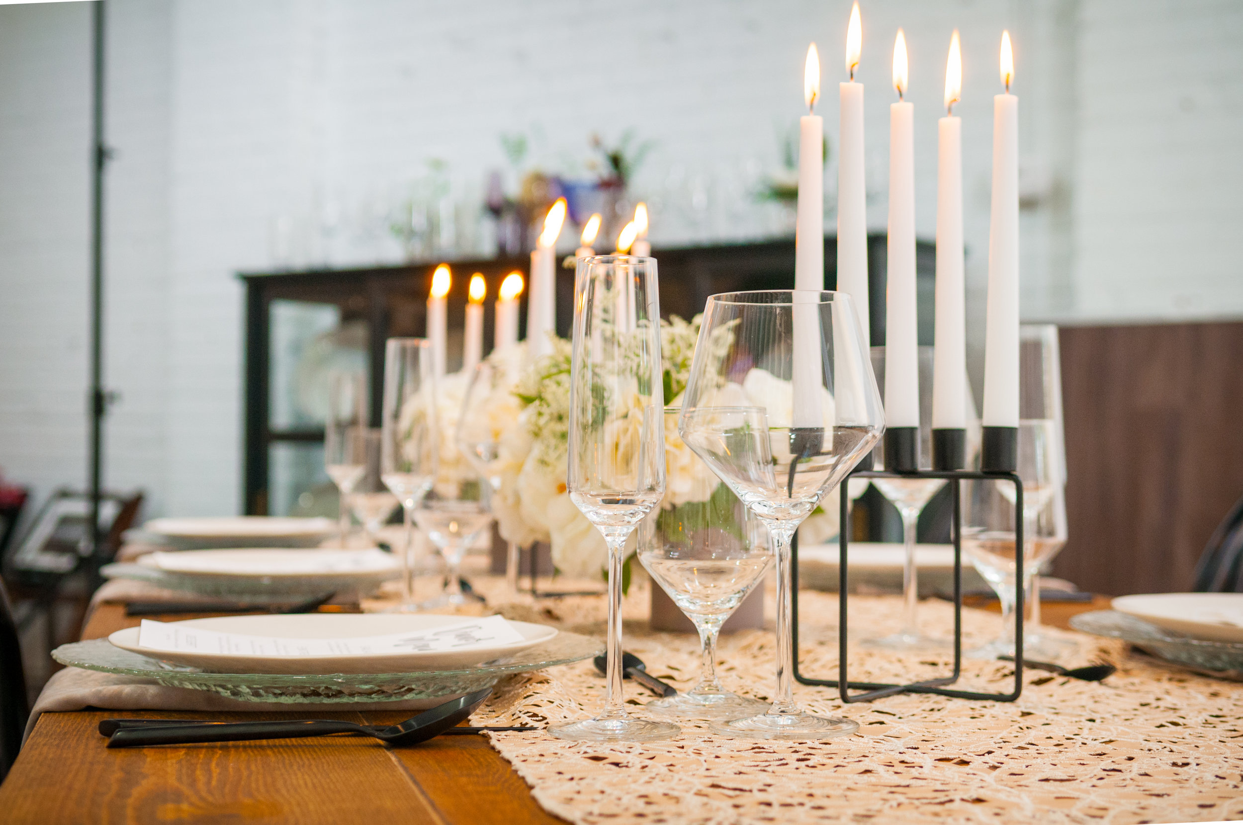 modern industrial romantic table design