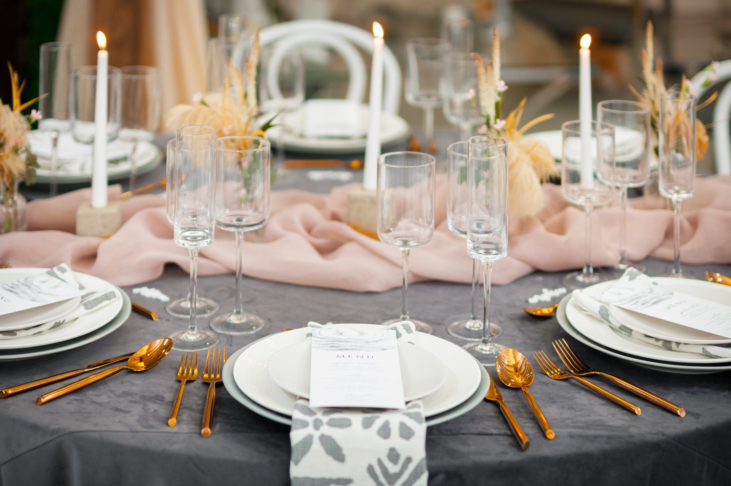 modern gray and blush wedding design