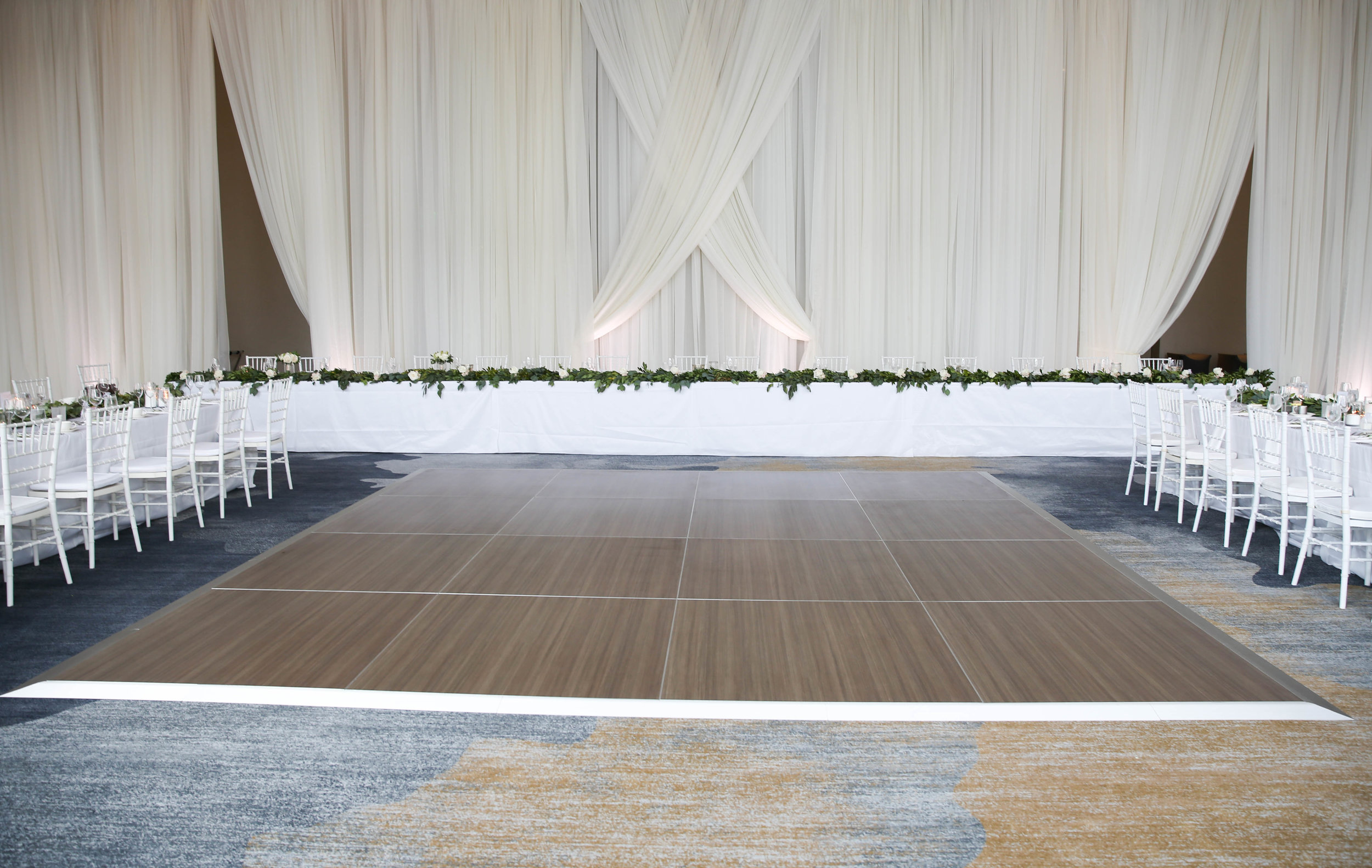 modern white wedding ballroom reception Kimpton Sawyer wedding