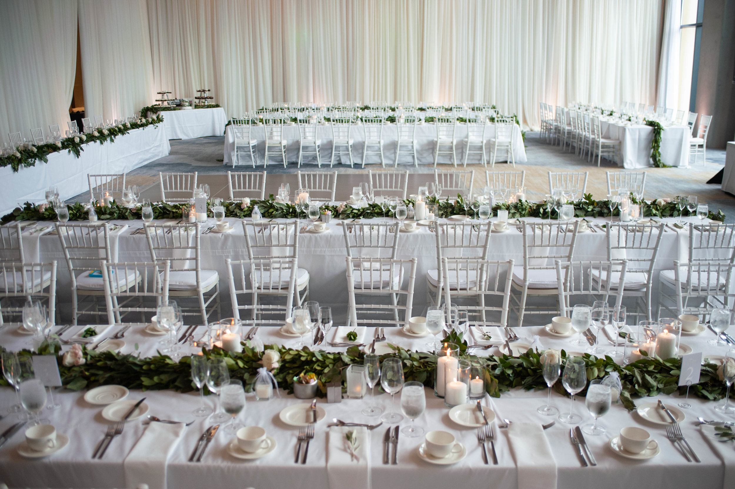 modern ballroom wedding white wedding