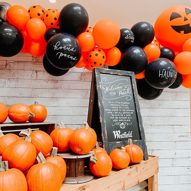 Things are getting spooky at @westfieldgar tonight!  Event Design + Production | @danielleroeevents  Balloons | @readysetconfettisac  Calligraphy | @lamplight_lettering  Pumpkins | @raleys  #halloweenfun #hocuspocus #familyevents #balloongarland #balloons #pumpkinpatch #pumpkinpatchphotoshoot