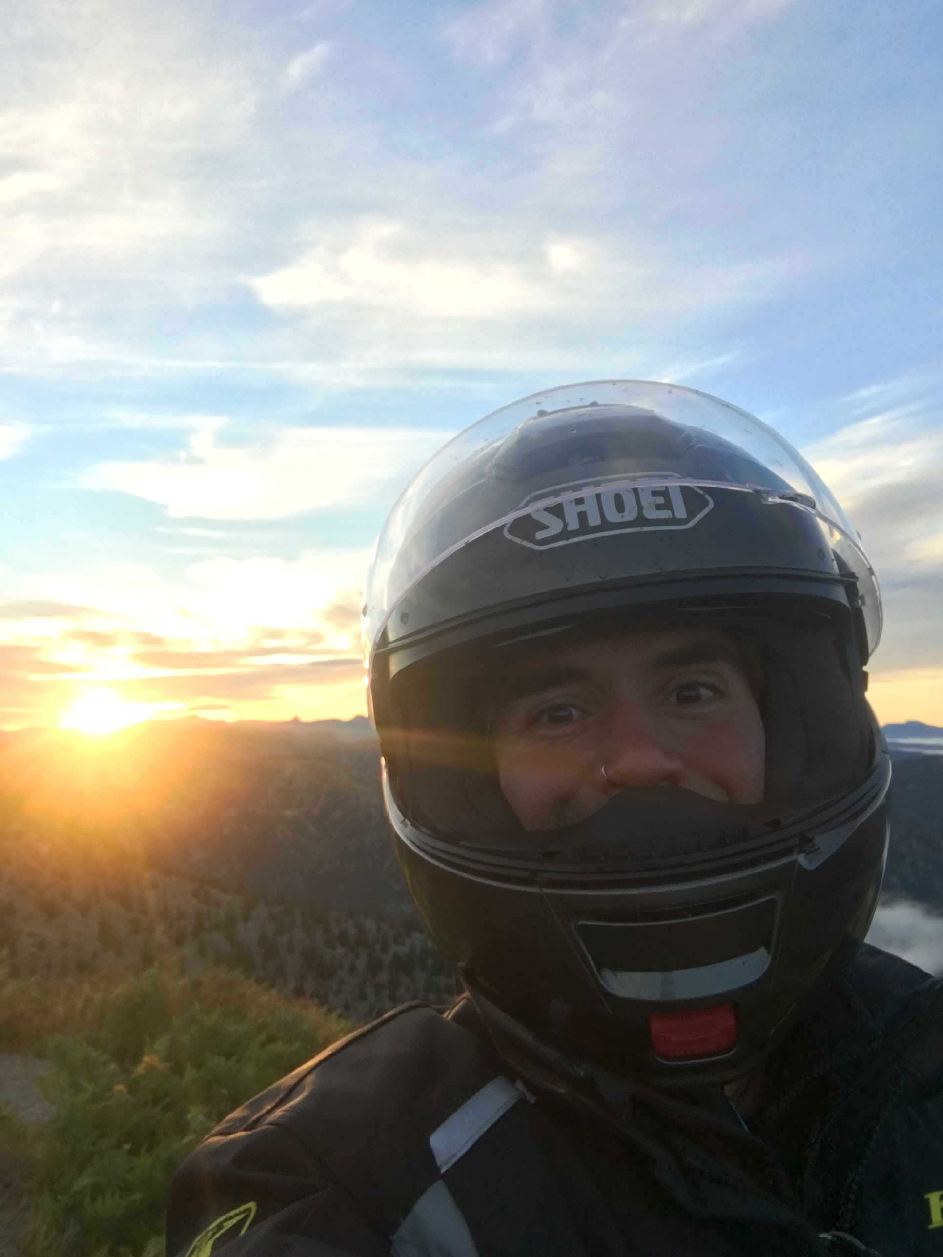 "I am not a big real early morning person, but here I have been up since 4:45. I'm already packed up, geared up and have ridden up the road to watch what turned out to be one of the epic sunrises of my life on Windy Ridge near Mt. Saint Helens. Words cannot describe how happy I am here. This is the last morning of my 5 week tour and I'm so glad I rallied and got out of the warm sleeping bag to experience this. You know, ""going confidently in the direction of our dreams""!"