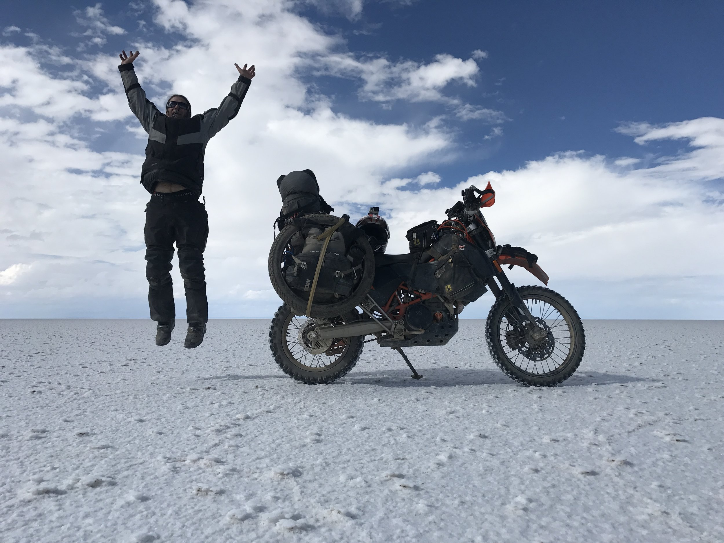 11,000+ square kilometers of salt flats on the famous Salar de Uyuni in Bolivia. Epic! I camped out in the middle of this sucker and rode 78 miles to get across it to my exit. Amazing Place!