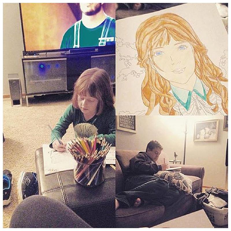 Family coloring marathon.