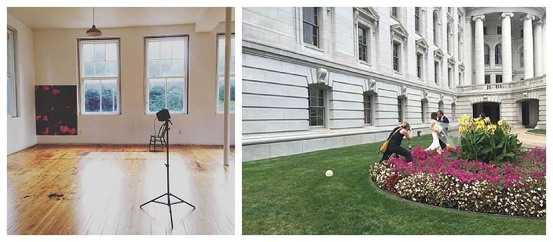 A little BTS action....the studio (which has been SUPER HOT....in terms of popularity and weather) and trying really hard not to squish pretty flowers at the Capitol
