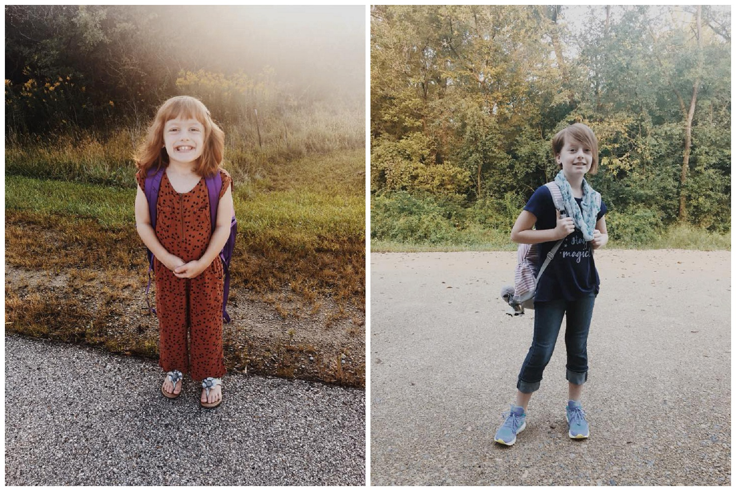 FIRST DAY BACK ( AND FIRST DAY AT THE BRAND NEW SCHOOLS!)  MOLLY IS IN 2ND GRADE AND BETTY IS IN 6TH GRADE