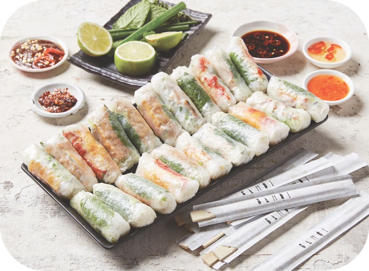 2 - Rice Paper Rolls - 40 x Assorted Mini Rice Paper Rolls(caters for 6 - 8 people)$115Additional items: $2.75