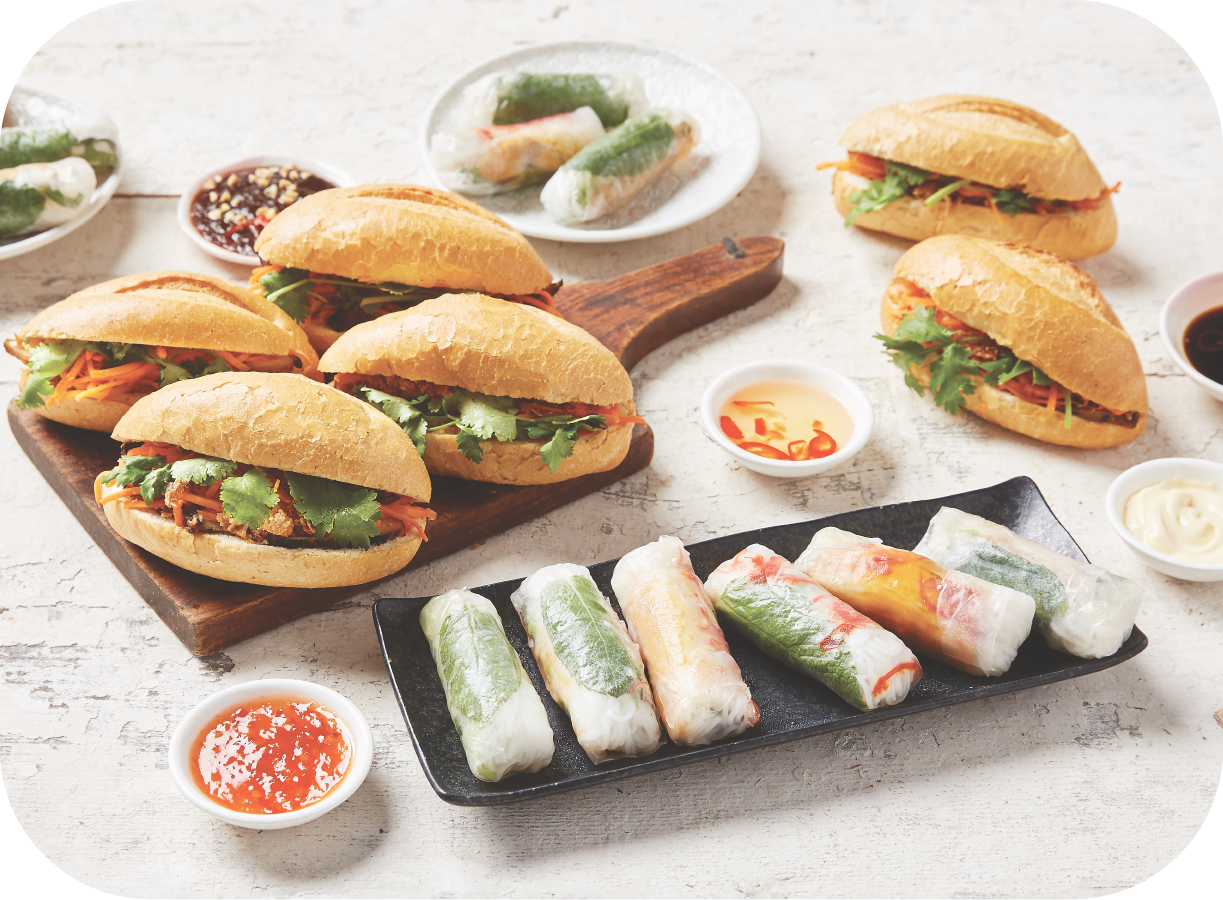 3 - Banh Mi & Rice Paper Rolls - 12 x Assorted Mini Banh Mi24 x Assorted mini Rice Paper Rolls(caters for 10 - 12 people)$125Additional items: $4.5/$2.75