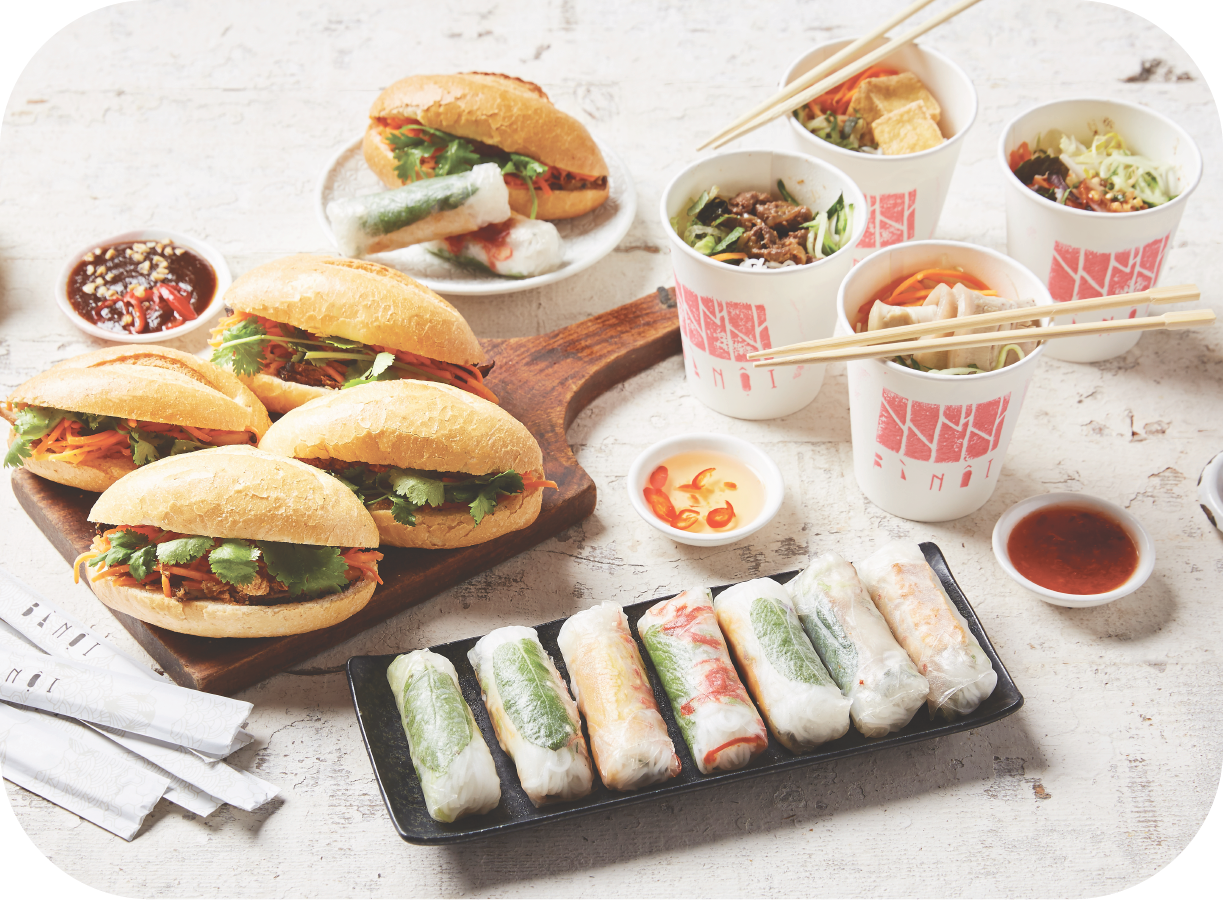 5 - Banh Mi, Rice Paper Rolls & Vermicelli Cups - 12 x Assorted Mini Banh Mi12 x Assorted Rice Paper Rolls12 x Assorted Vermicelli Cups(caters for 10 - 12 people)$165Additional items: $4.5/$2.75/$7.5