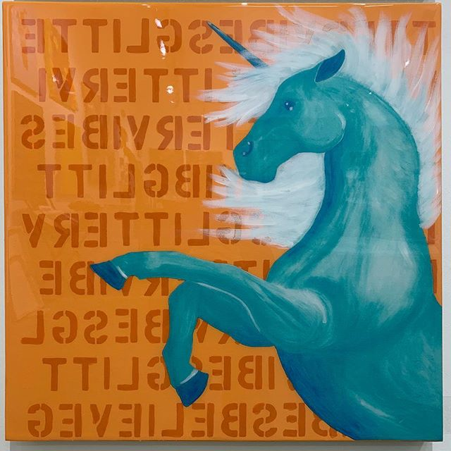 They do exist✨🦄✨ . . . . . . . #unicorn #believe #dreambig #magic #live #happy #contemporaryart #popart #design #interiordesign #wallcandy #entrepreneur #luxury #glitter #artlife #htx #ny #workhardthenworkharder @goldenpaints @jscanvas