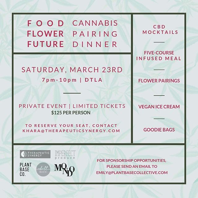 We're doing it again. Come joint us! 🌿🔥 • @mondomeds @imperfectproduce @maderapalo @ritualandrose @foodflowerfuture • #cannabis #cannabisinfuseddinner #infuseddinner #dinner #organic #experiential #collaborate #strainspecific #journey #la #eat #consume #culinary #dinnerevent #event #connect #learn #share #grow #thc #cbd #partake #community #foodflowerfuture #cannabiscommunity