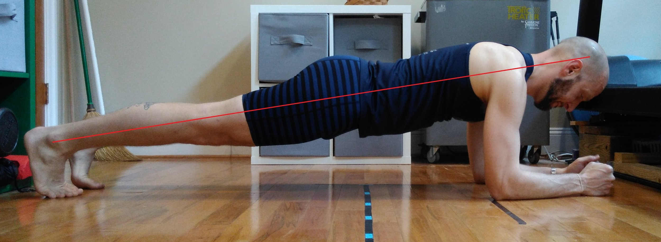 When planking in correct posture the body should be in a straight line from the ankle, passing behind the knee, through the center of the hip, through the shoulder, and just behind the ear.