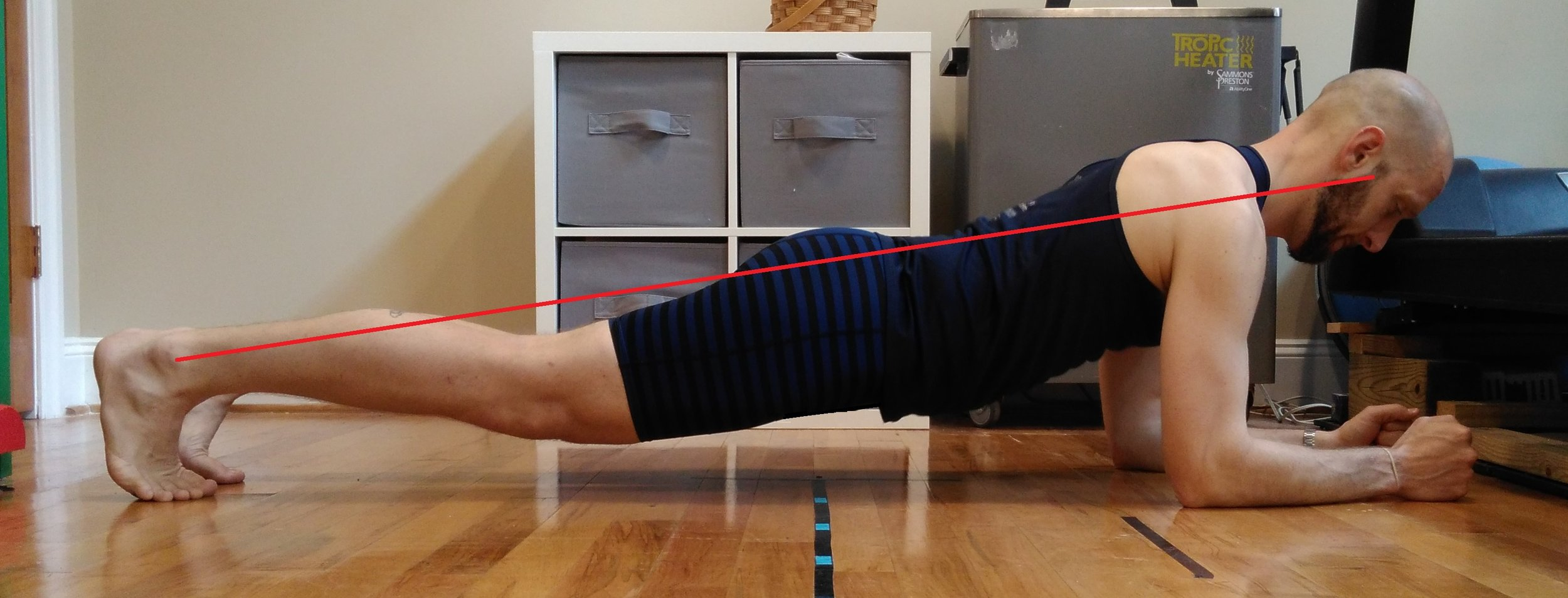Sagging or overarching of the lower back can result from insufficient abdominal muscle strength, teaching the body to stabilize in less than optimal postures. The body sags below the line of neutral alignment.