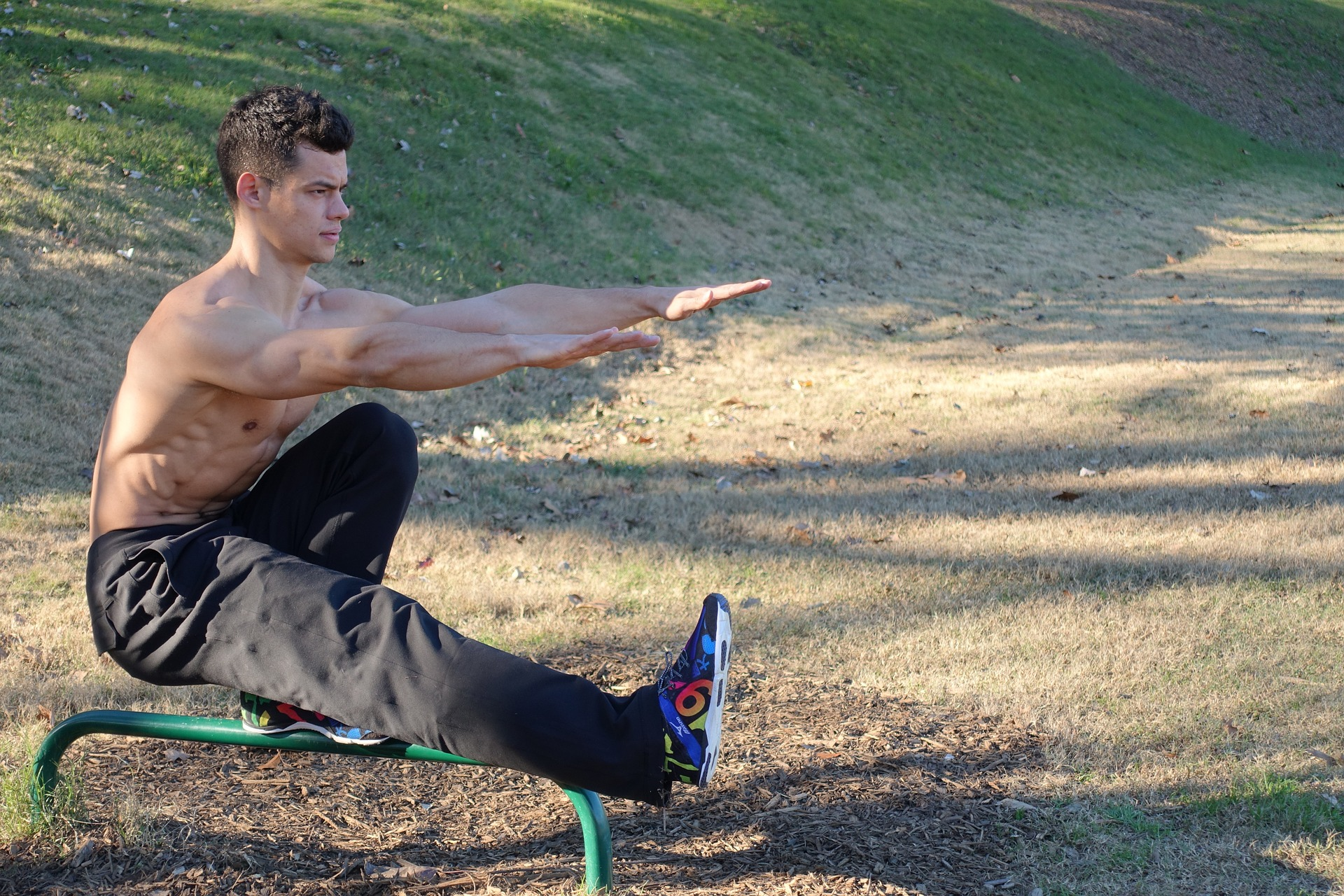 A pistol squat is an advanced single leg squat variety that requires high levels of core strength.