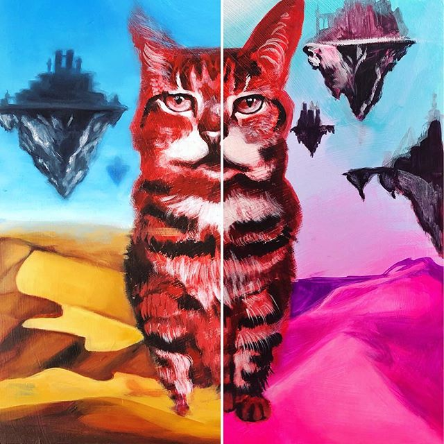 My latest commission piece. On the right is the underpainting I did for layout, on left is after 3 dune layers, 2 sky, floating city layer, and none yet on the cat. Excited to be working steadily again after taking some time to focus on building the future at work! I'm also filming this progress so I can share with everyone later, still slowly building my video editing PC.