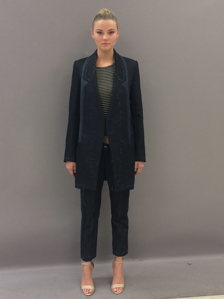Sportswear - tailored denim suit with organza and top feather stitching detail