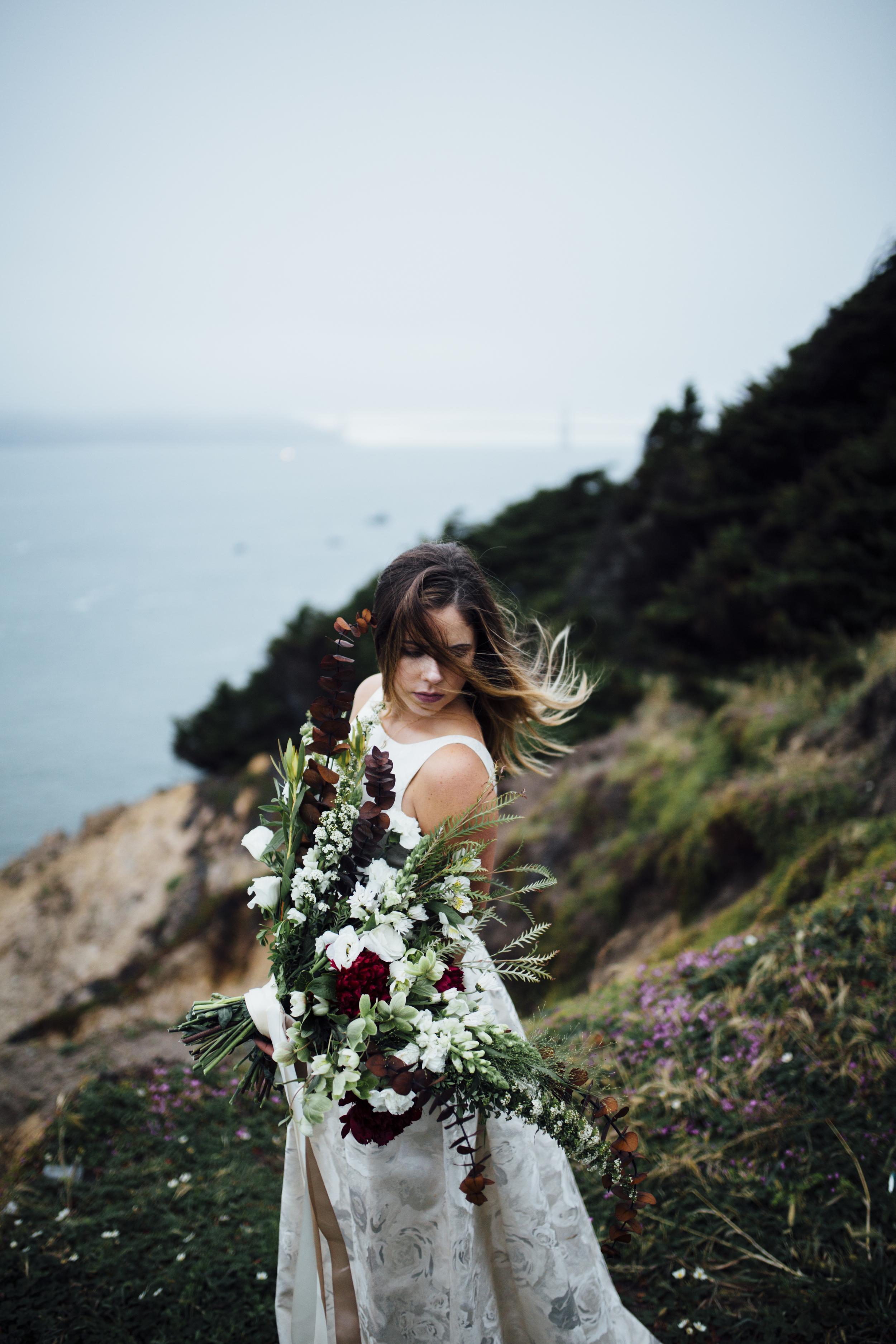 Nataly Zigdon Photography | San Francisco Bridal Shoot | Lands End | Roots Floral Design