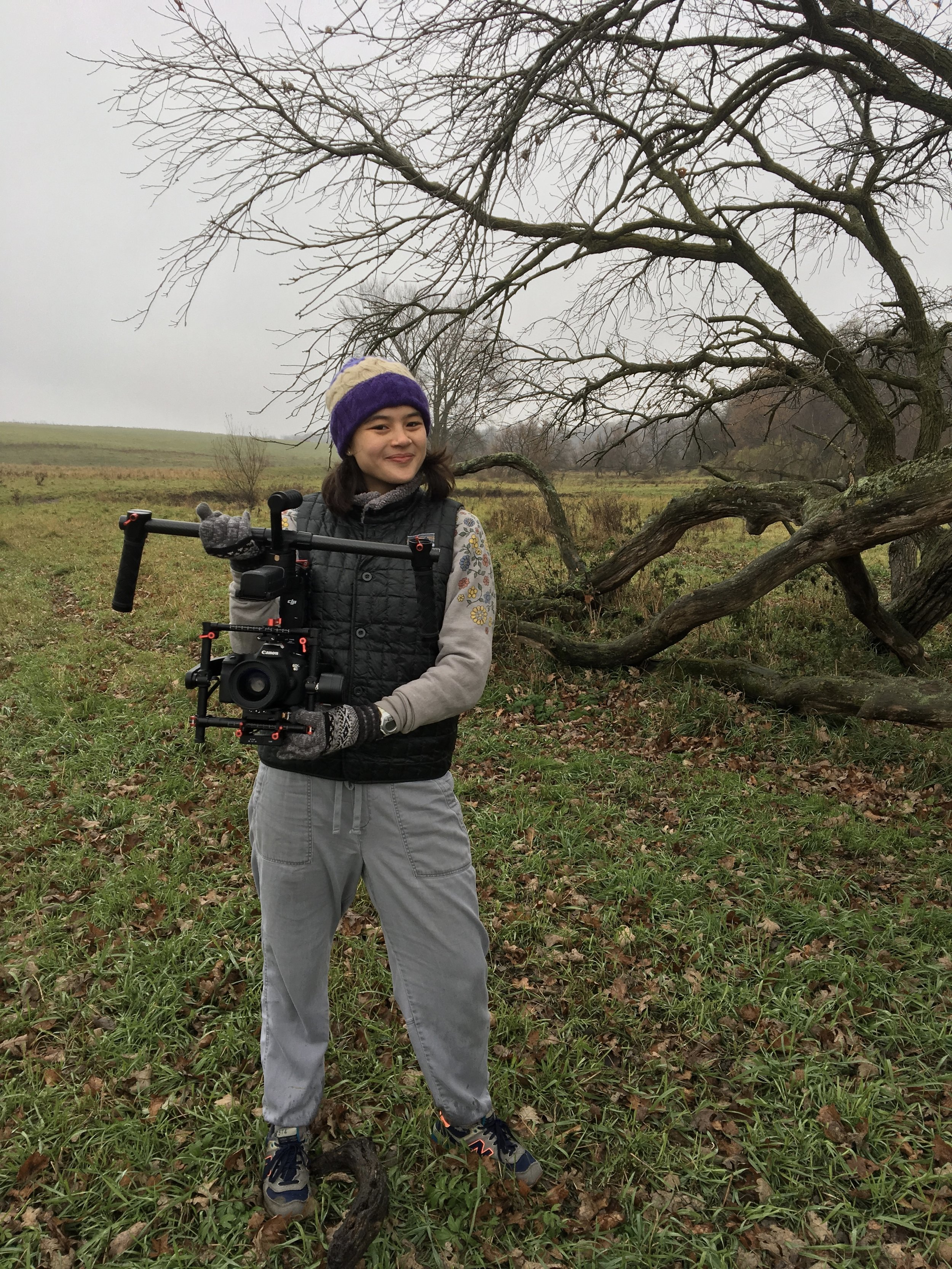 "Cat, in southern Wisconsin, on the set of Confluence (see in ""Cinematography"") with a Canon 6D DSLR on a Ronin MX Stabalizer."