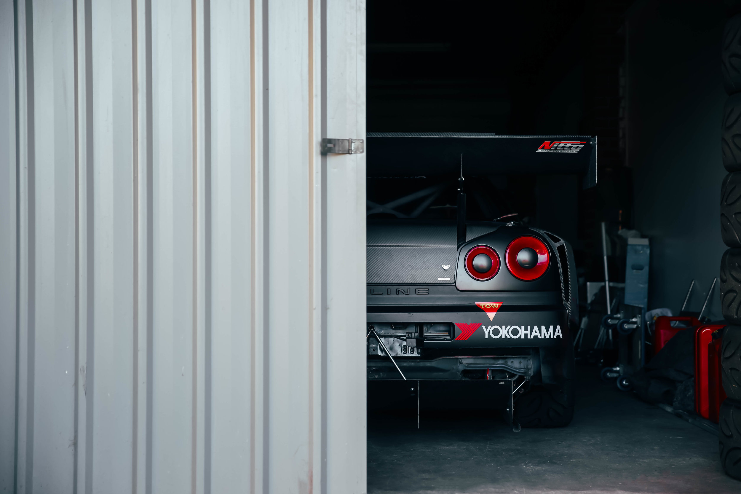 Hiding in the darkness. I love this shot of this R34 GTR taken at the  World Time Attack Challenge .