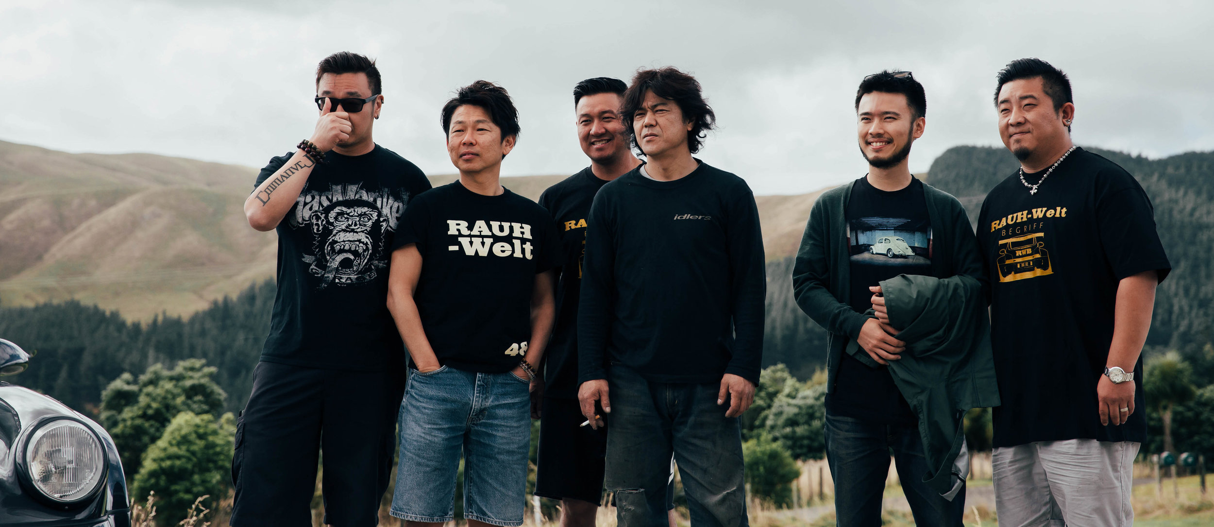 Not only do I enjoy taking photos of cars, but I also love capturing the people behind the cars. This is the RWB family at the RWB NZ build. Left to right: Christian Coujin, Ichiraku Toshiya, Anthony Wong, Akira Nakai, Chern Wong, and Nan Su.
