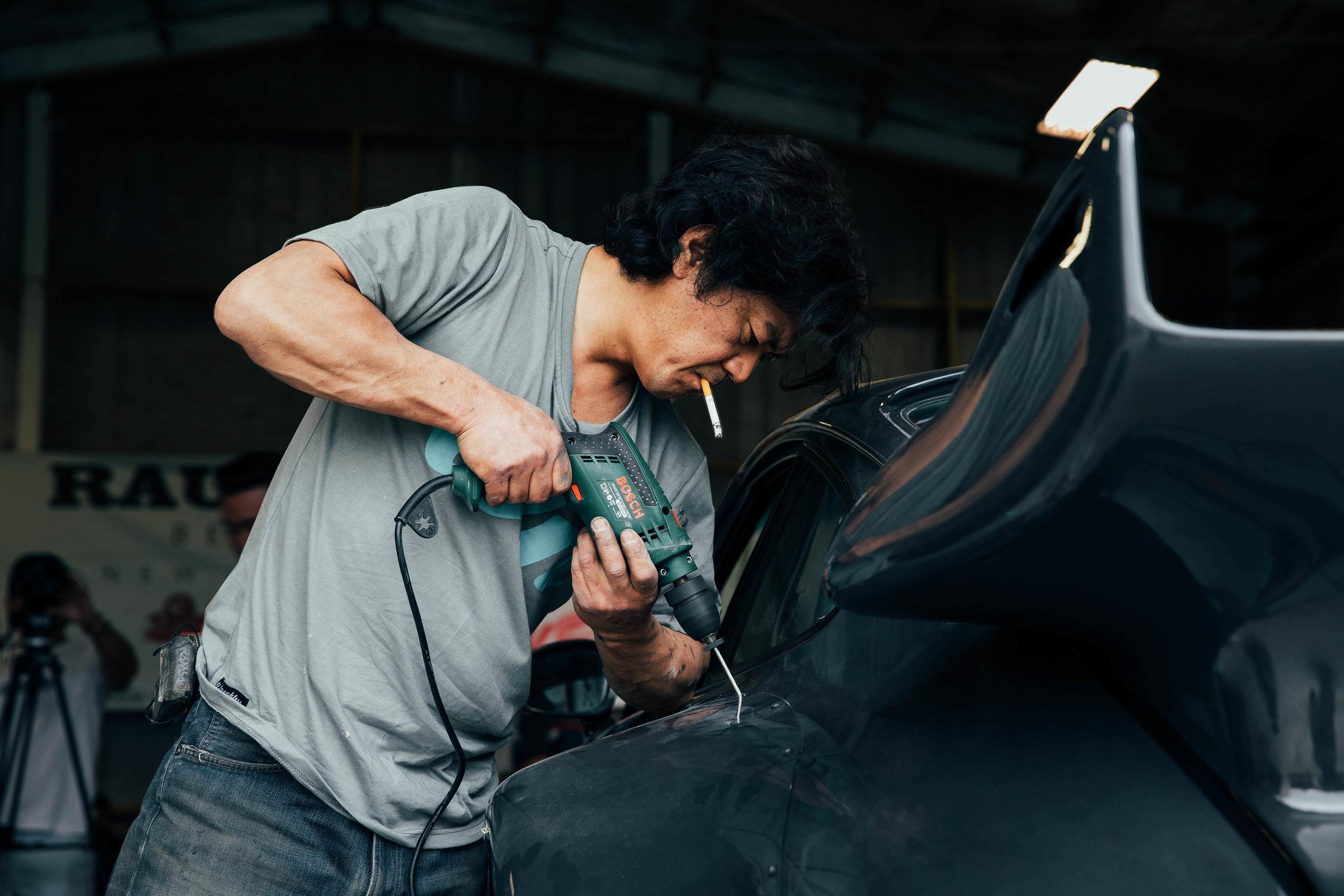 Nakai-san working on 'Waikato' in New Zealand.