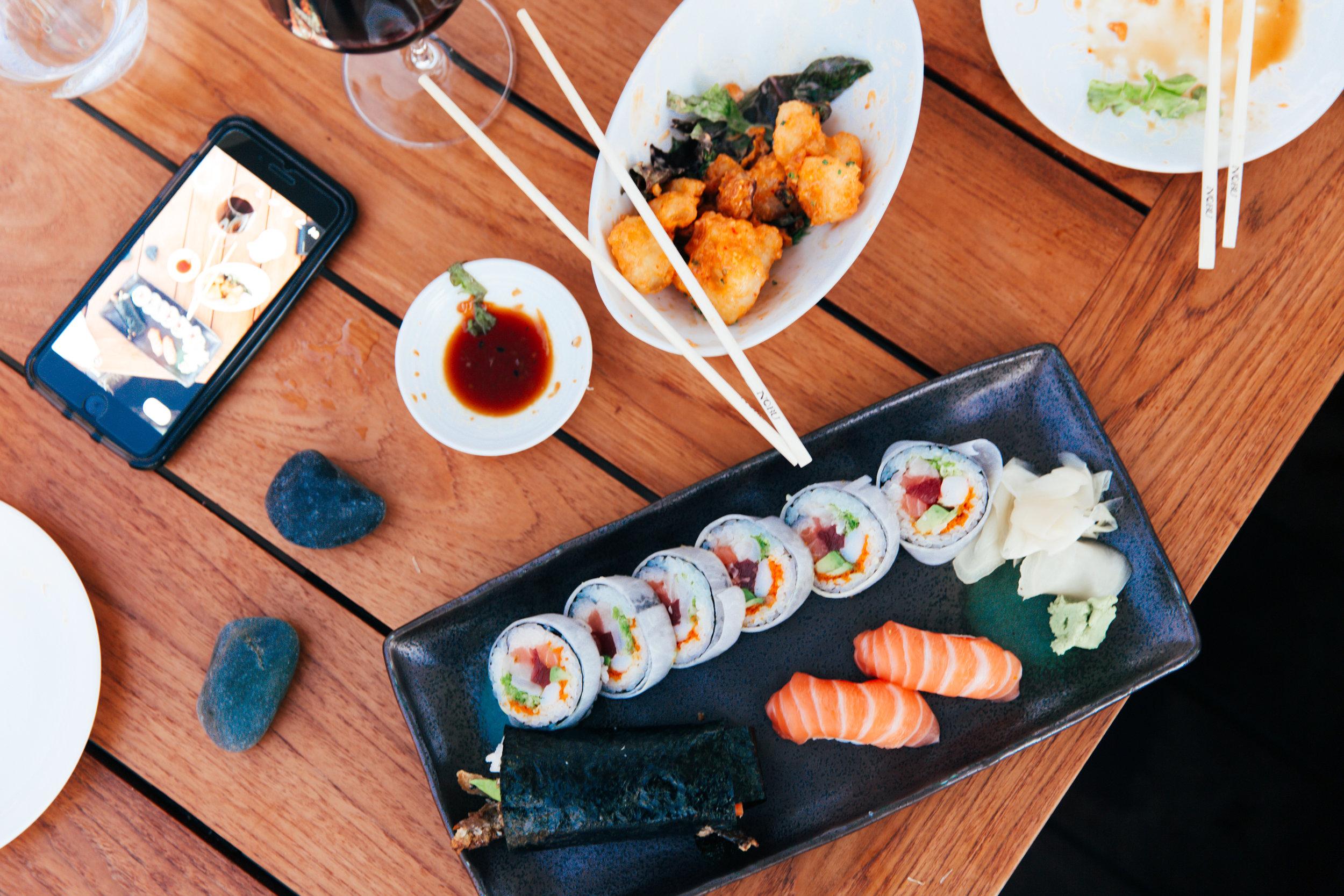 Salmon Skin Roll, House Special & Salmon Nigiri -