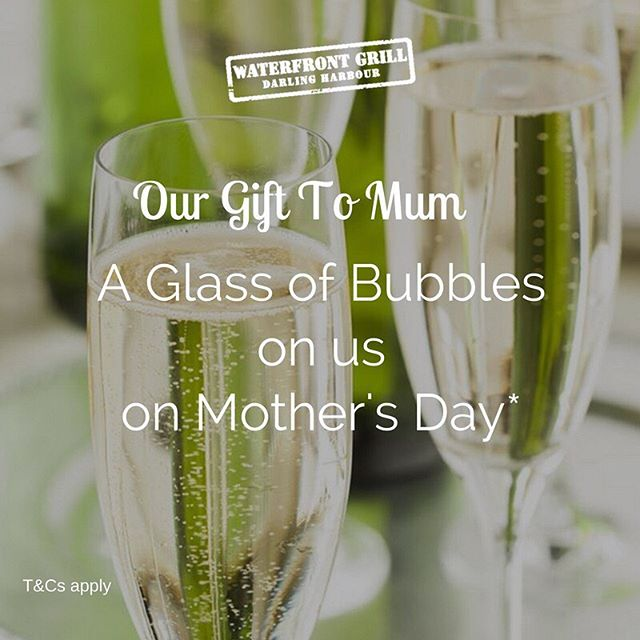 Don't forget: Mother's Day lands this Sunday. Book a table for lunch or dinner to treat mum, and we'll give mum a free glass of house or sparkling wine. Cos we loves her 😍 Get booking  #waterfrontgrill