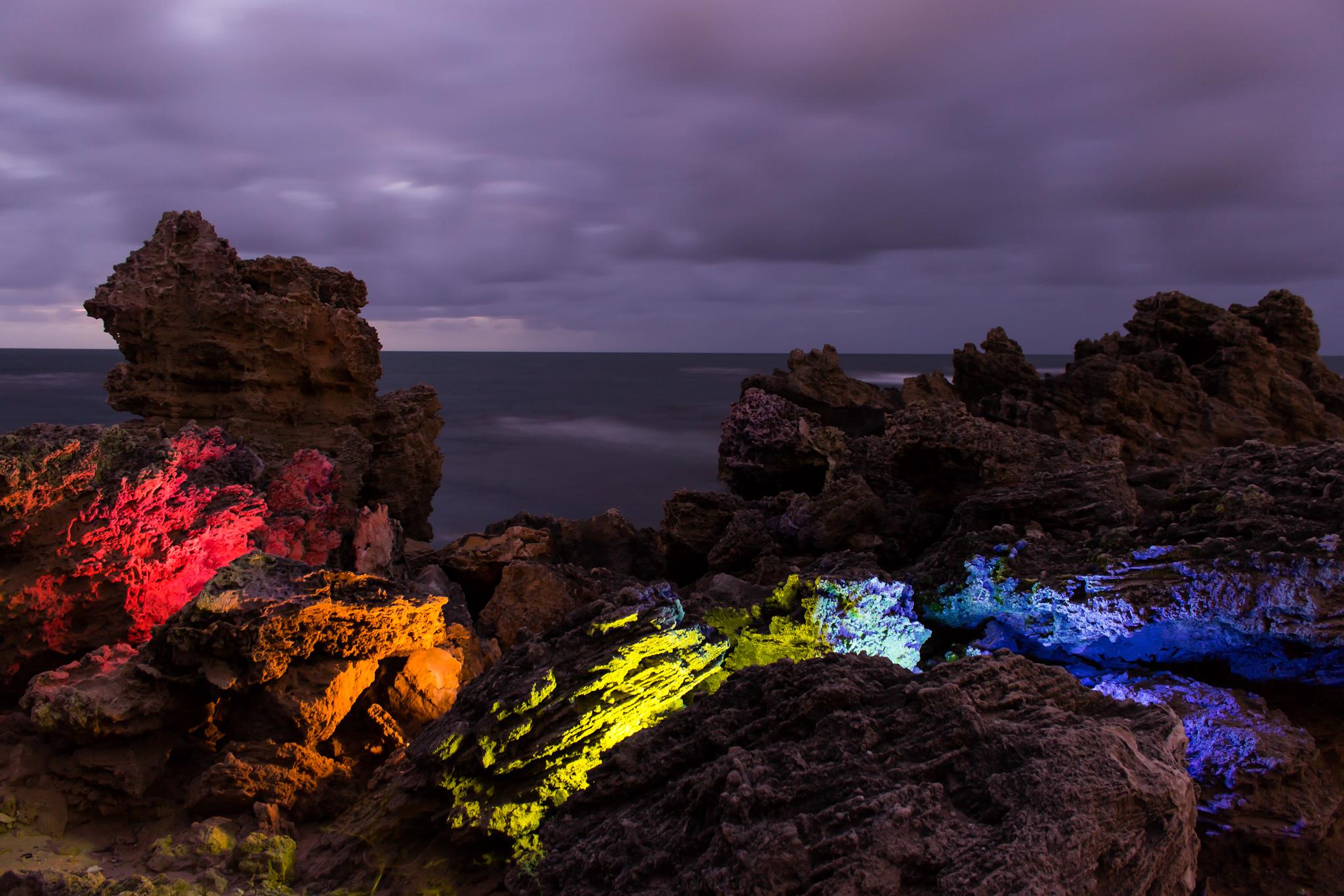 an experimental long exposure shot taken at Point Peron, Western Australia