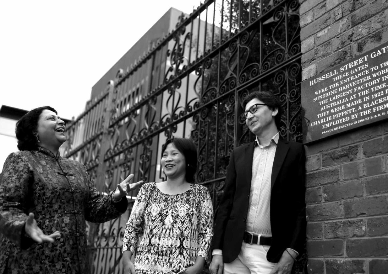 Community leaders at the Sunshine Harvester factory gates (Image credit: Jessica Hogg).