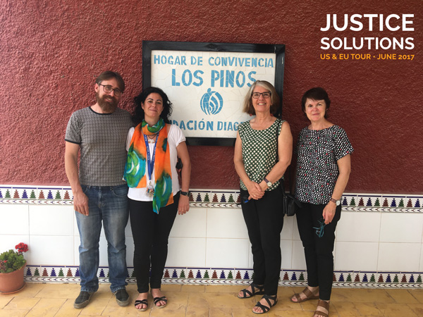 Jesuit Social Services CEO Julie Edwards and Executive Director of Programs Sally Parnell (right) with staff from Diagrama in Spain.