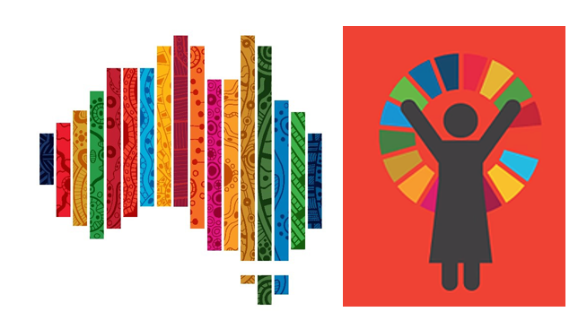 The Sustainable Development Goals are aspirational, yes - but also meant to drive real and lasting change. Is Australia making progress for women and children? Artwork (left)  by Jordana Angus  (right) United Nations.