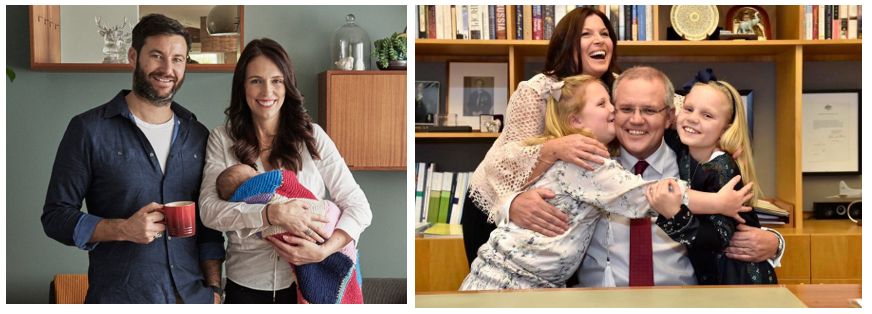 """'""""But how will they ever govern?"""" Concerns regarding how Jacinda Arden would manage her leadership responsibilities as a parent were very different to those expressed for Scott Morrison. Photo credits:  left - the Evening Standard ;  right - Business Insider ."""